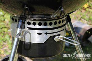 Das Schließen des Abluftschiebers reduziert die Temperatur des Minion Rings