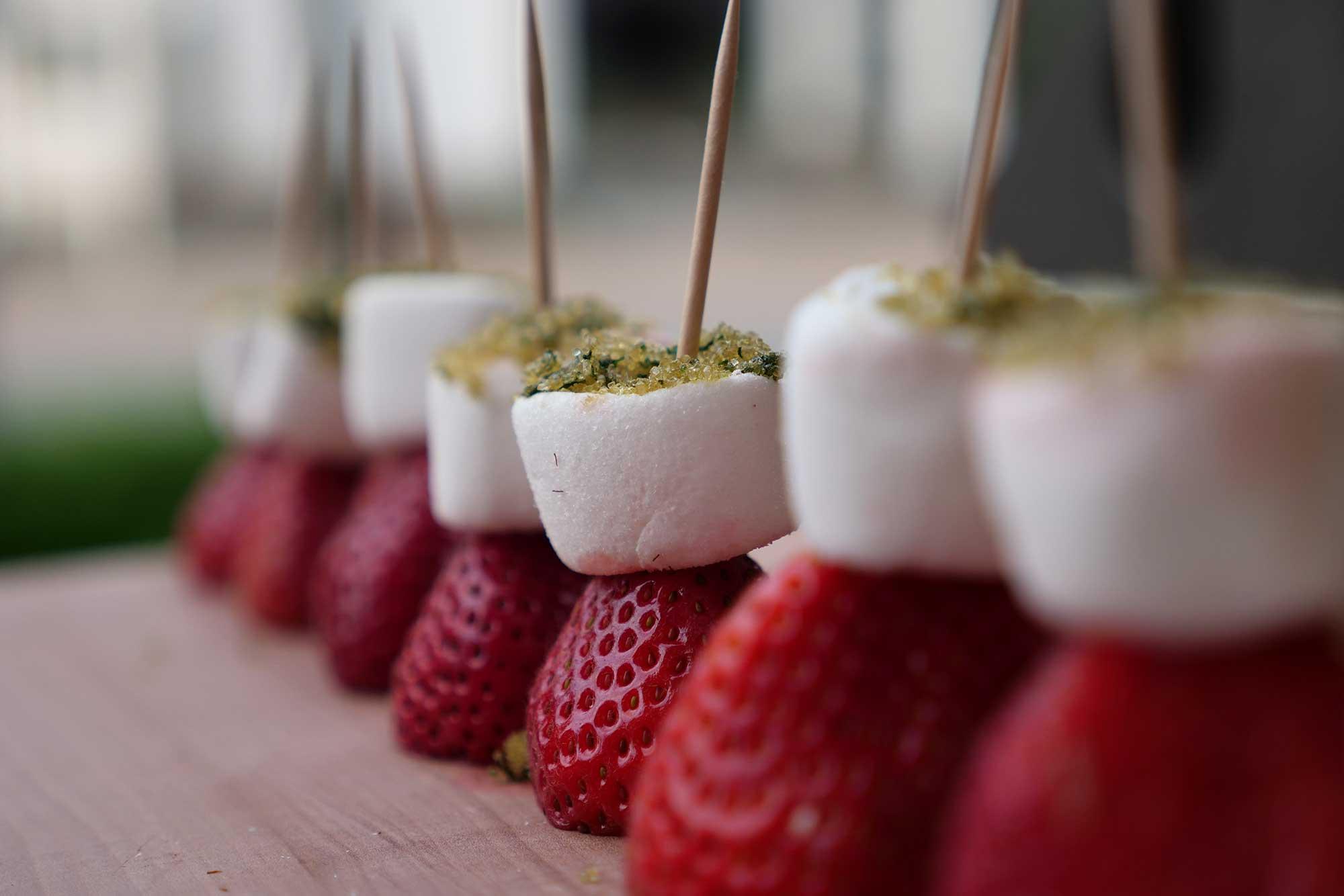 Die Marshmallow-Erdbeer-Spieße sind bereit für den Grill