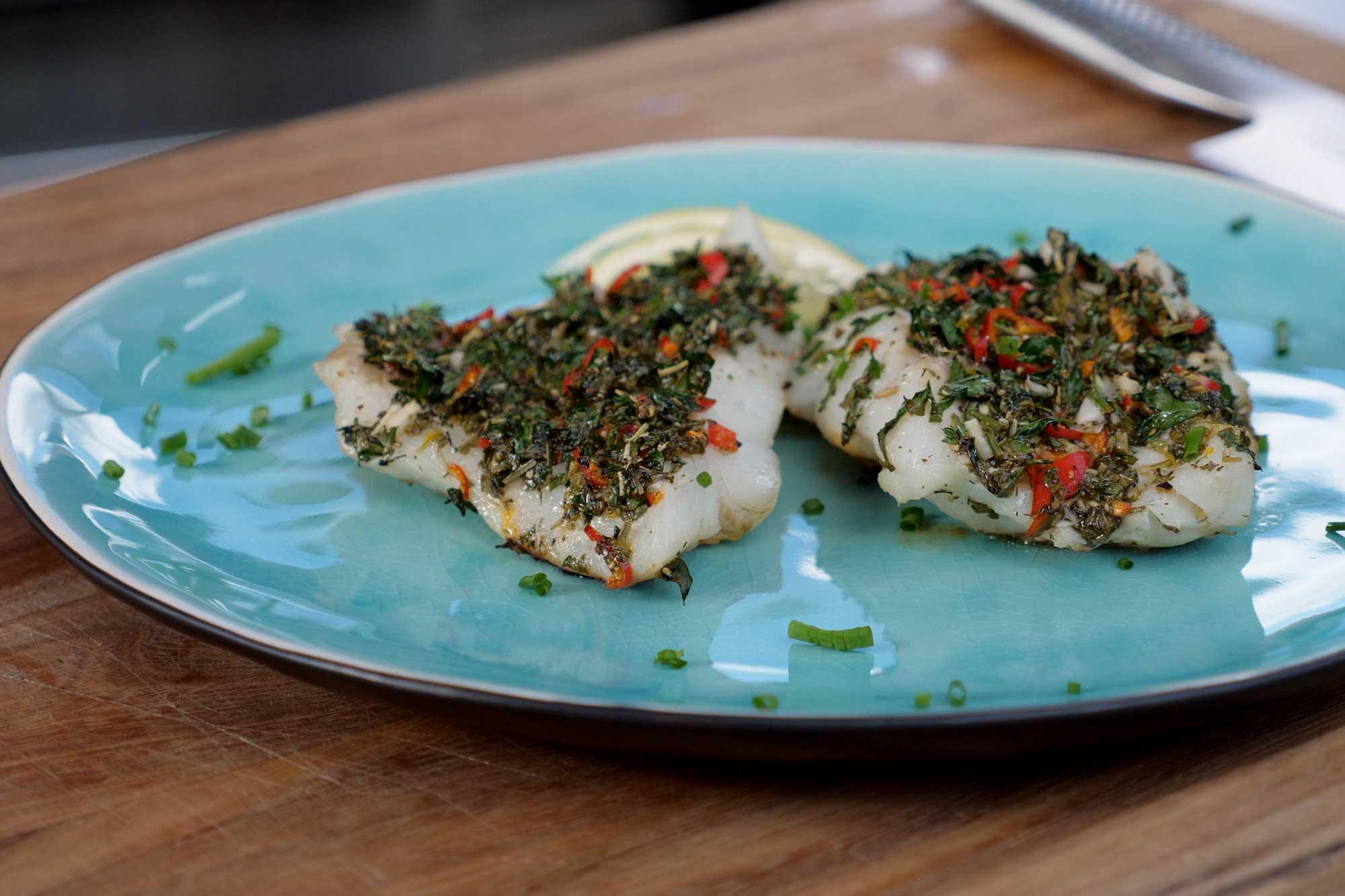 Pollack grillen mit dem Salzstein – leckeres Fischrezept zum Nachmachen